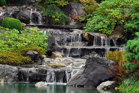 Waterfall stock photo, Picture of some small waterfall at a Japanese Garden by Alain Turgeon