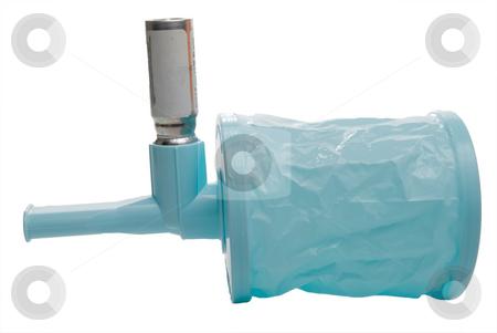 Inhaler Bag stock photo, An asthma inhaler extension regulator spacer bag. by Robert Byron