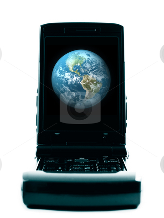 Cell phone with earth stock photo, Cellphone with earth by John Teeter