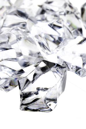 Raw diamonds stock photo, Raw white diamonds over white background by Francesco Perre