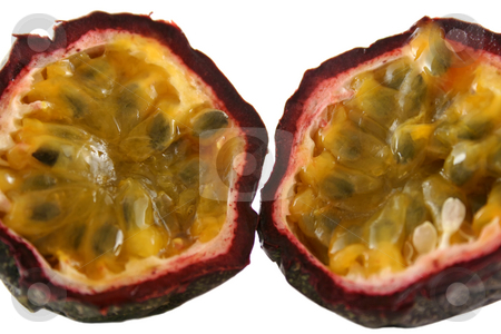Passionfruit 3 stock photo, Freshly harvested passionfruit cut in half. by Brett Mulcahy