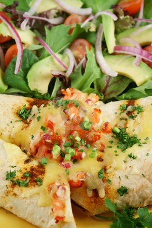Beef And Bean Enchiladas 2 stock photo, Beef and red kidney bean enchiladas with cheese and salad. by Brett Mulcahy