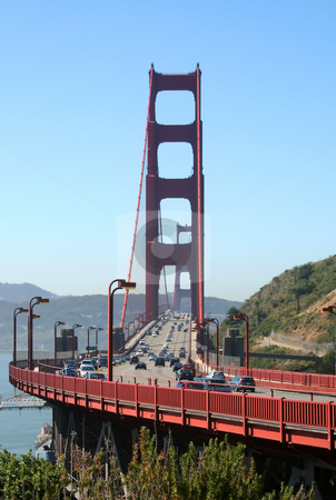 Golden Gate Bridge San Francisco stock photo, Traffic streams across the Golden Gate Bridge in San Francisco. by Brett Mulcahy
