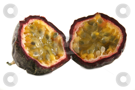 Passionfruit 1 stock photo, Freshly harvested passionfruit cut in half. by Brett Mulcahy