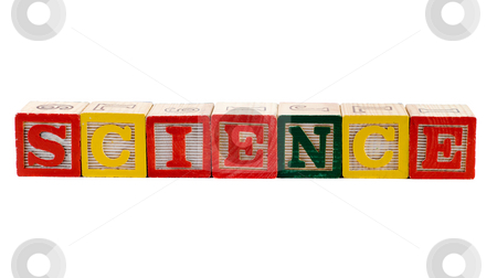 Science stock photo, The word science, spelled using wooden letter blocks, isolated against a white background by Richard Nelson