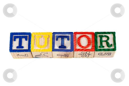 Tutor stock photo, The word tutor, spelled using wooden letter blocks, isolated against a white background by Richard Nelson