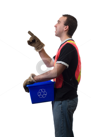 Service Worker stock photo, A young service worker pointing at your text, isolated against a white background by Richard Nelson