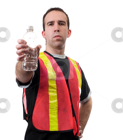 Recyle Man stock photo, A man wearing a reflective vest holding an empty water bottle, isolated against a white background by Richard Nelson