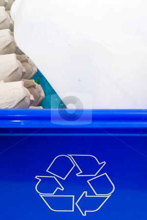 Blue Box stock photo, Closeup view of a blue box filled with recyclables by Richard Nelson