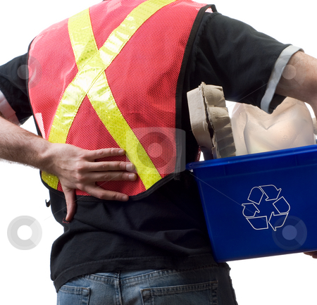 Worker With Back Pain stock photo, Closeup view of a city worker suffering from back pain by Richard Nelson