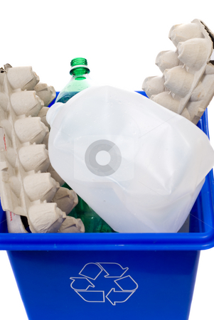Recycling stock photo, A full blue box isolated against a white background by Richard Nelson