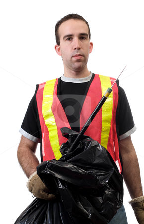 Street Cleaner stock photo, Young worker holding a poking stick and a garbage bag, used to pick up public trash, isolated against a white background by Richard Nelson