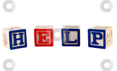HELP stock photo, The word help, spelled out using wooden letter blocks, isolated against a white background by Richard Nelson