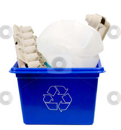Recycle stock photo, A recycling box filled with egg containers and a milk jug, isolated against a white background by Richard Nelson