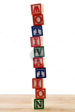 Motivation stock photo, The word motivation spelled using colored baby blocks by Richard Nelson