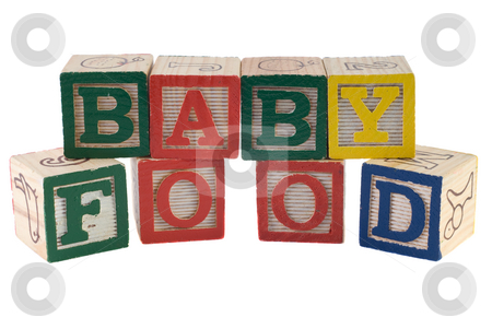 Baby Food stock photo, A sign that reads baby food, spelled using letter blocks, isolated against a white background by Richard Nelson
