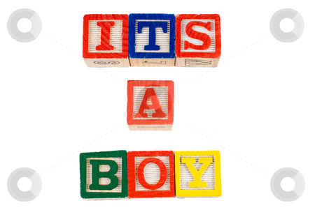 Its A Boy stock photo, Its A Boy, spelled out using colorful letter blocks, isolated against a white background by Richard Nelson