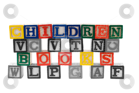 Children Books stock photo, Children Books spelled using letter blocks, with everything in black and white except for those words by Richard Nelson