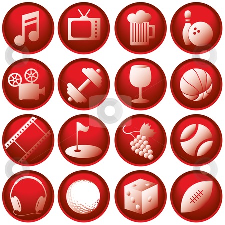 Recreation Icon Buttons stock vector clipart, Recreation Icon Buttons by Adrian Sawvel