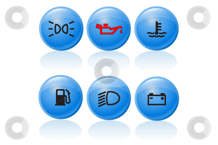 Blue car push buttons stock vector clipart,  by Mihaly Pal Fazakas