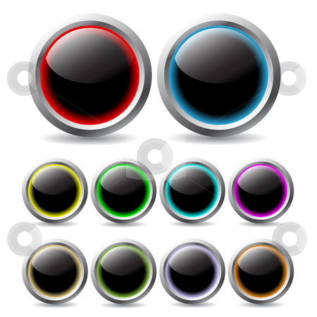Glowing buttons stock vector clipart,  by Mihaly Pal Fazakas