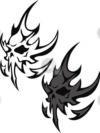 Flying Skull stock vector clipart, This is an illustration of a flying skull. there are 2 vectors of the same figure. one is outlined, other is double layered. it is easy to change the color of the illustration depending on requirement by Fowzan Ahmed