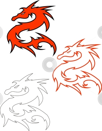 Punisher Skull stock vector clipart, This is an illustration of a simple dragon. there are 3 vectors of the same figure. first is double layered, second is outlined and the third is simple. the colors can easily be easily changed to meet requirements by Fowzan Ahmed