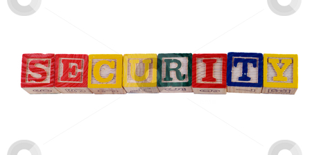 Security stock photo, Concept image of child security, by spelling it out with wooden letter blocks by Richard Nelson