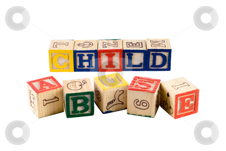Child Abuse stock photo, The words child abuse, spelled using wooden letter blocks, isolated against a white background by Richard Nelson