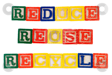 Reduce Reuse Recycle stock photo, Concept image of reduce, reuse, recycle, with those words spelled using colored wooden blocks, isolated against a white background by Richard Nelson