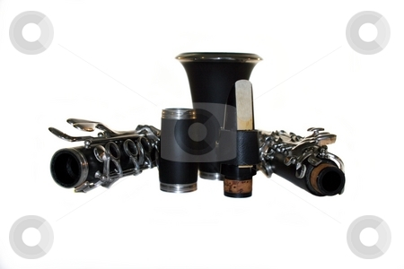 Clarinet stock photo, Classic Black B Clarinet on white background. by Henrik Lehnerer
