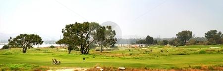 Golf stock photo, Panoramic shot of a golf fairway near Ventura by Henrik Lehnerer