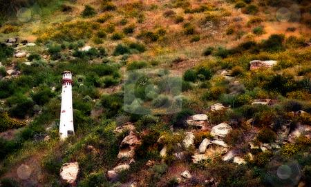 Light Tower stock photo, Small white light tower in Laguna Beach California by Henrik Lehnerer