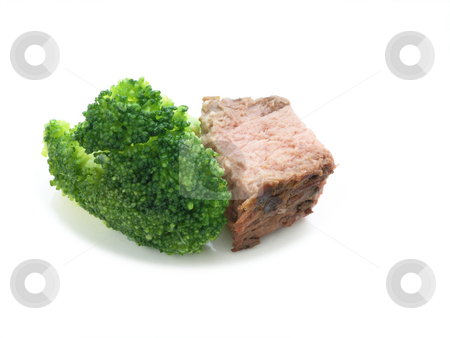 Steak and broccoli close up stock photo, Steak and broccoli close up on a white plate by John Teeter