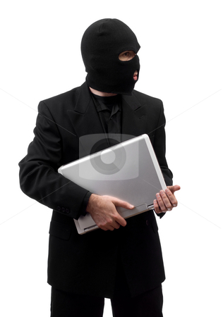 Thief Stealing Laptop stock photo, A thief wearing a suit is stealing a laptop, isolated against a white background by Richard Nelson