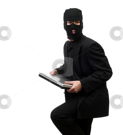 Inside Job stock photo, A business thief from inside a corporation is stealing company secrets, isolated against a white background by Richard Nelson