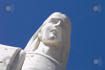 The Redeemer Christ stock photo, The Redeemer Christ on blue sky by Matteo Malavasi