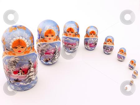 Matrioshkas stock photo, Picture of ten typical russian matrioshka dolls by Matteo Malavasi