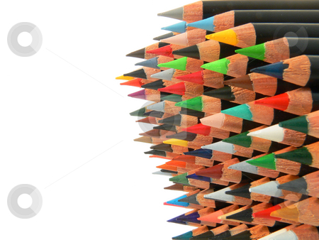 Pencils stack stock photo, Close up of a stack of many colored pencils by Matteo Malavasi
