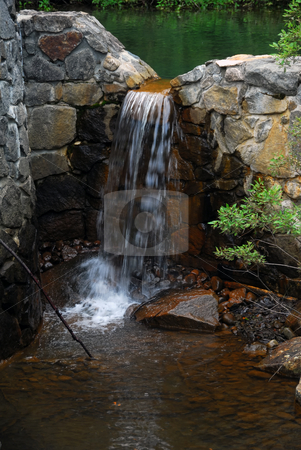 Small water falls stock photo, Picture of a natural small water fall in summer by Alain Turgeon