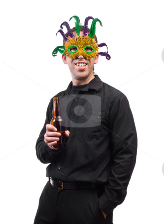 Costume Party stock photo, A man holding a beer bottle and wearing a feather mask, isolated against a white background by Richard Nelson