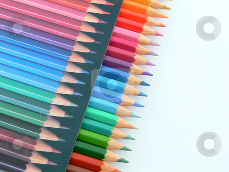 Colored pencils box  stock photo, Close up picture of a box of colored pencils by Matteo Malavasi