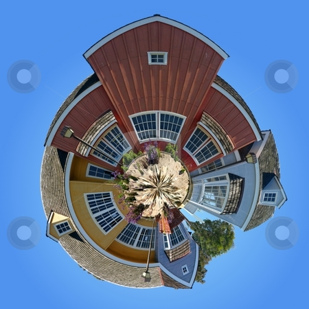 Planet Oxnard Harbor Houses stock photo, Panoramic 360 degree shot of the Oxnard harbor houses by Henrik Lehnerer