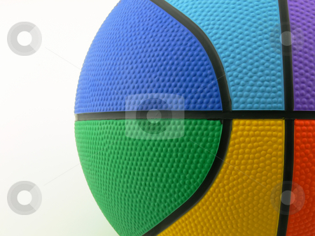 Six colors basket ball stock photo, Close up picture of a rainbow colored basket ball by Matteo Malavasi