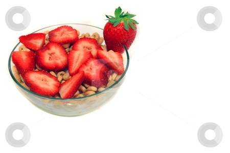 Strawberry Breakfast stock photo, Healthy Strawbeery and cerial breakfast isolated by Jack Schiffer