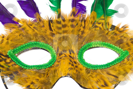 Masquerade Mask stock photo, Closeup view of a feather masquerade mask, isolated against a white background by Richard Nelson