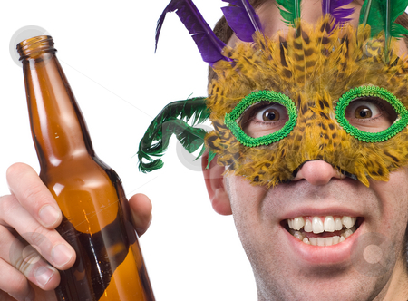 Mardi Gras stock photo, Closeup view of a partier holding his alcoholic beverage, isolated against a white background by Richard Nelson