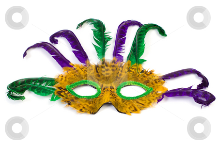 Masquerade Mask stock photo, A feather masquerade mask, isolated against a white background by Richard Nelson
