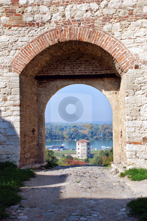 Stone fortress  in Belgrade stock photo, Details of  ancient fortress Kalemegdan in Belgrade, Serbia by Julija Sapic