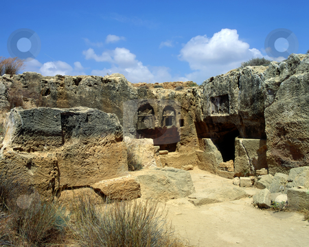 Tombs of the Kings stock photo, The burial caves of the Tombs of the Kings near Paphos, Cyprus. They are carved into the bedrock of the hill and decorated with Doric columns and capitals; they date from the 4th century BC by Paul Phillips